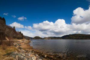 Foto eines Ufers mit Steinen am Fjord mit blauem Himmel.