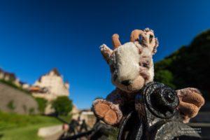 Balznerbock sitzt am Rideau Canal im Hintergrund ein Schloss