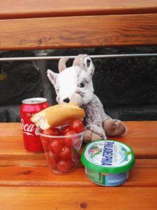 Balznerbock sitzt auf der Bank und geniesst, Brot, Tomaten und Philadephia