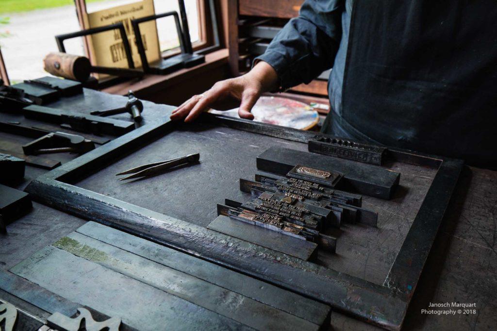 Foto der Setzsteine für den manuellen Buchdruck