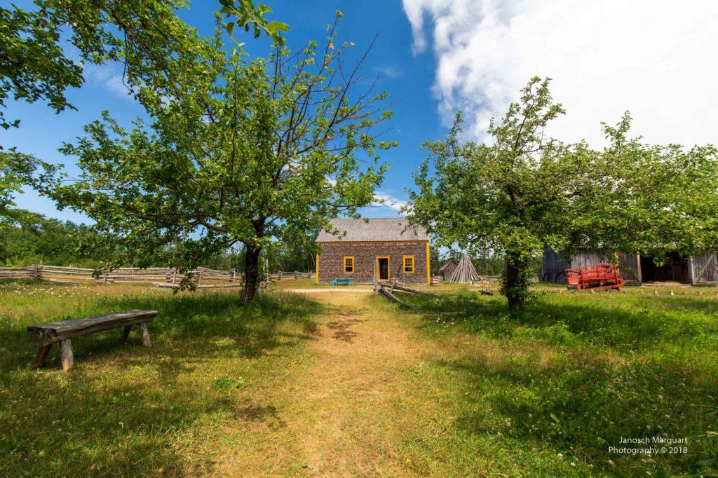Foto von Apfelbäumen vor einer historischen Farm.