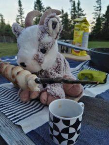 Balznerbock isst Stockbrot mit Maple Sirup