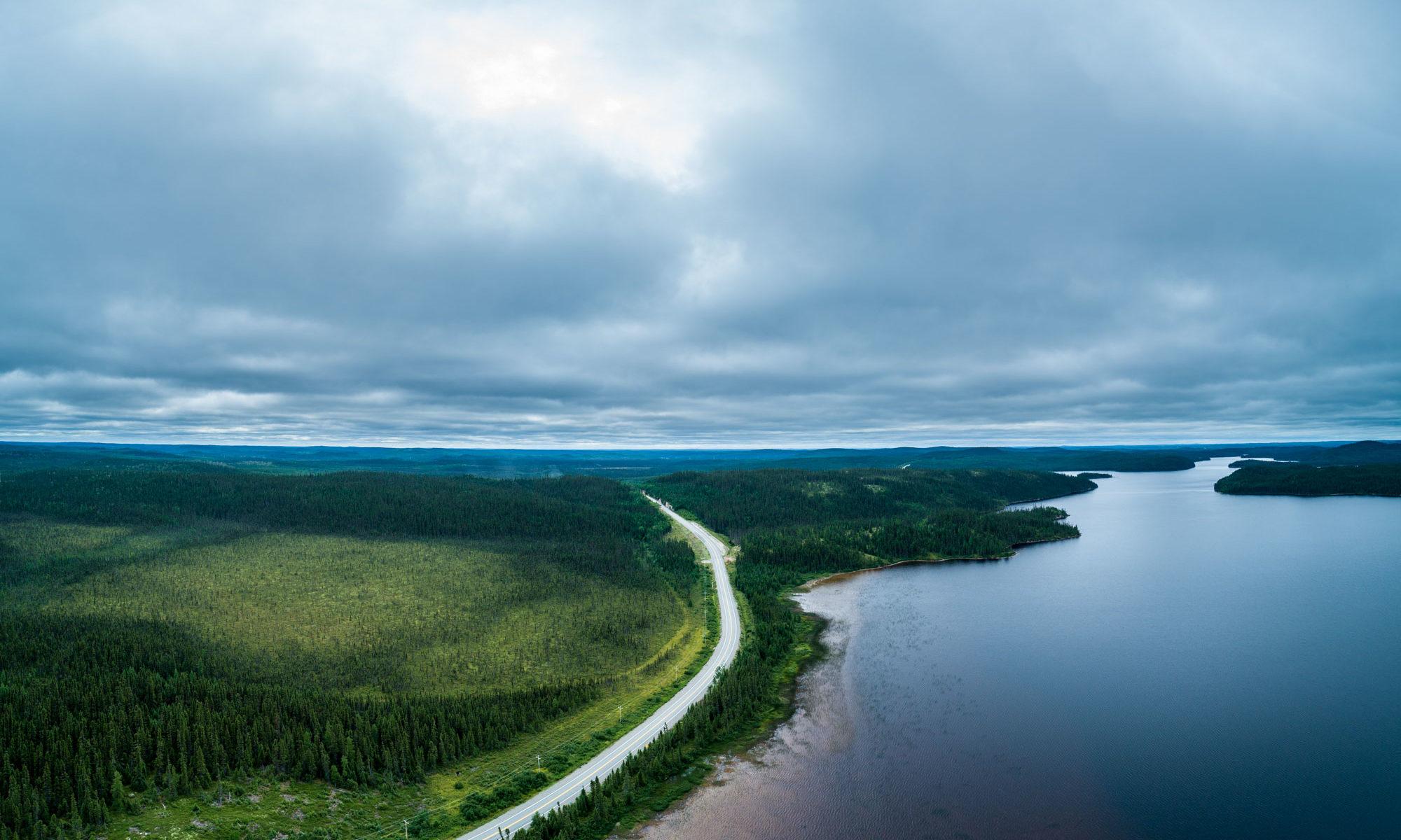 Luftaufnahme des Waldes von Quebec.