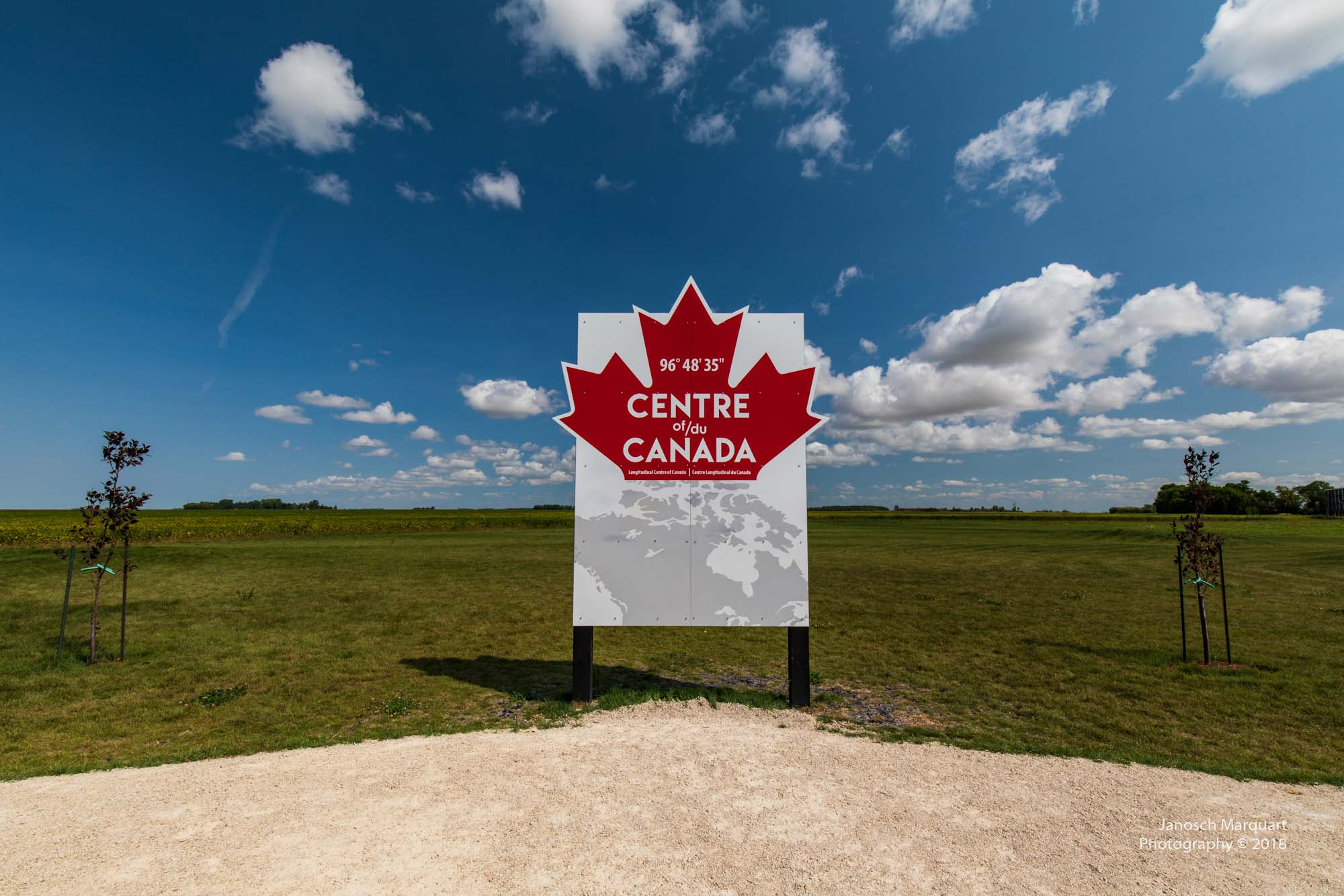 Center of Canada Schild in Manitoba.