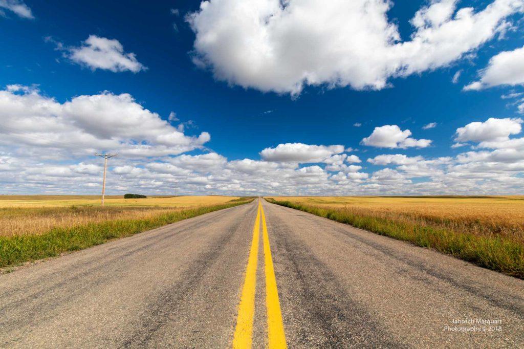 Strasse an den Horizont umrahmt von Feldern und überspannt von blau-weissem Wolkenhimmel.