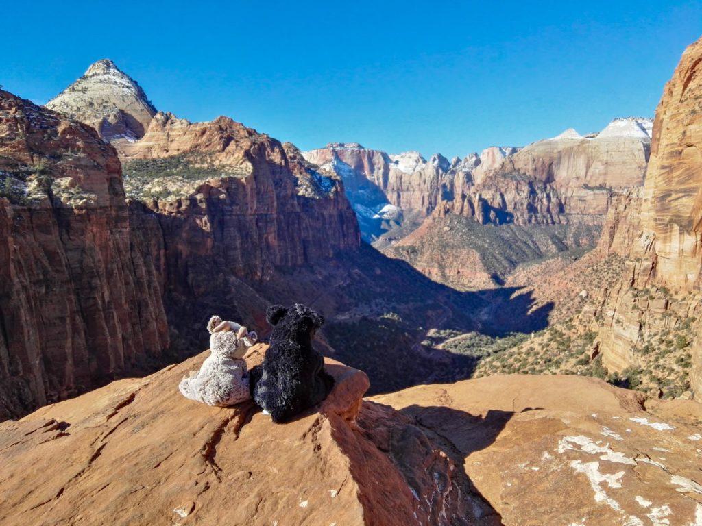 Balznerbock und Beary sitzen auf einem Stein und blicken ins atemberaubende Canyontal.